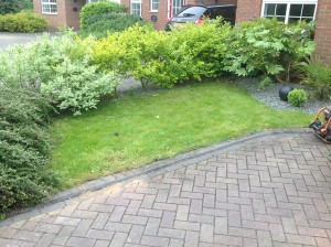 Artificial Grass Installation front of house before
