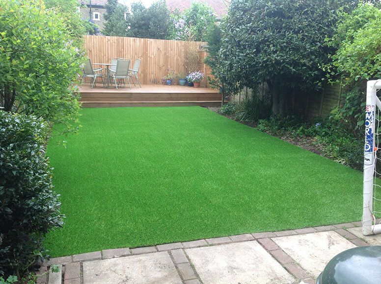 Lush green artificial grass