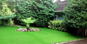 artificial lawn with patio and borders