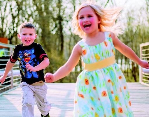 kids running playing